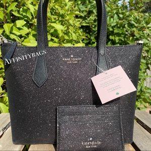 Kate spade set joeley black satchel card glitter